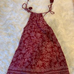 Red and white floral old navy dress